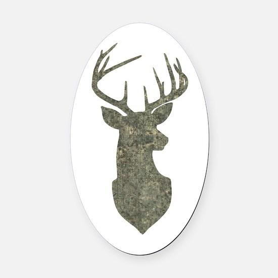 Buck Silhouette in Grunge Camo Texture Oval Car Ma