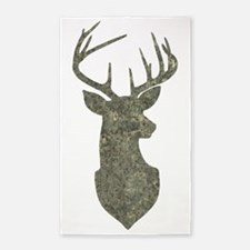 Buck Silhouette in Grunge Camo Texture Area Rug