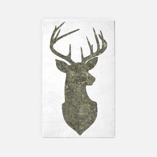 Buck Silhouette in Grunge Camo Texture Area Rug