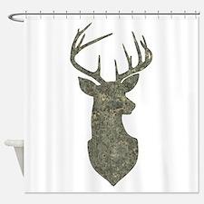 Buck Silhouette in Grunge Camo Texture Shower Curt