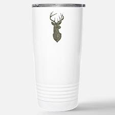 Buck Silhouette in Grunge Camo Texture Travel Mug