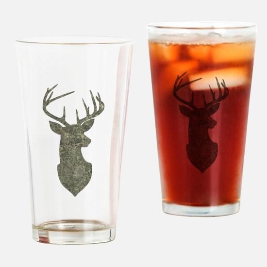 Buck Silhouette in Grunge Camo Texture Drinking Gl