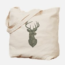 Buck Silhouette in Grunge Camo Texture Tote Bag