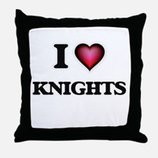 I Love Knights Throw Pillow