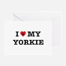 I Heart My Yorkie Greeting Cards