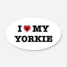 I Heart My Yorkie Oval Car Magnet