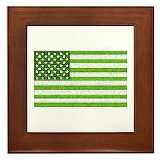 Green Stars and Stripes Framed Tile
