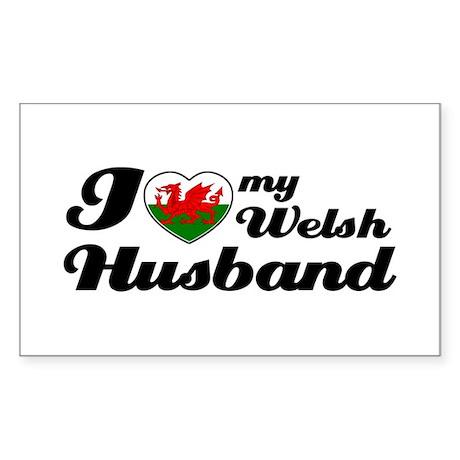 I love my Welsh Husband Rectangle Sticker