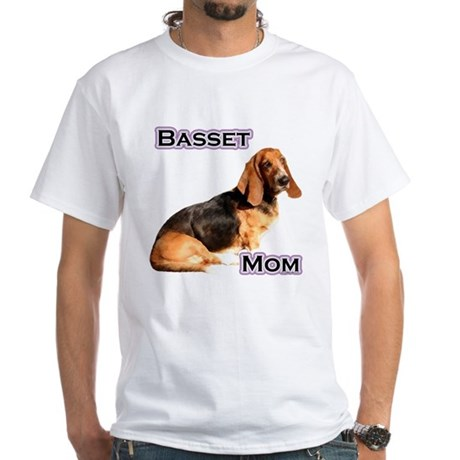 Basset Mom4 White T-Shirt