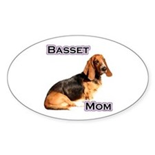 Basset Mom4 Oval Decal
