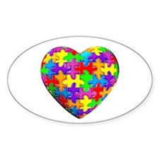 Jelly Puzzle Heart Oval Stickers