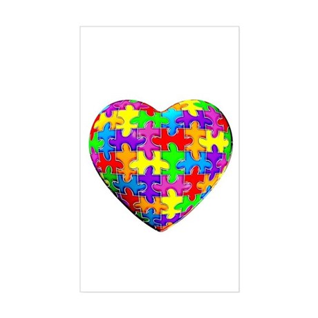 Jelly Puzzle Heart Rectangle Sticker
