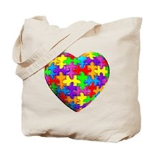 Jelly Puzzle Heart Tote Bag