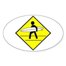 Surfer Crossing Oval Decal