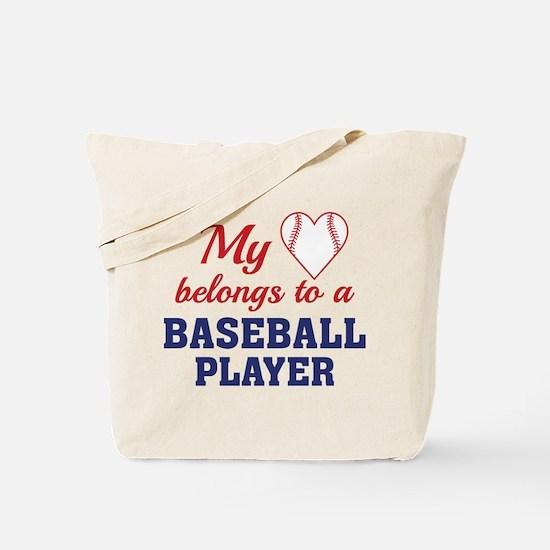 Heart Belongs Baseball Tote Bag