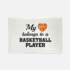 Heart Belongs Basketball Rectangle Magnet (10 pack