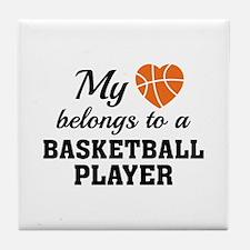 Heart Belongs Basketball Tile Coaster