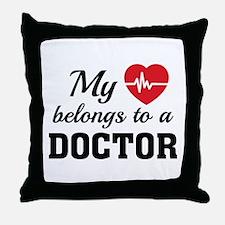 Heart Belongs Doctor Throw Pillow