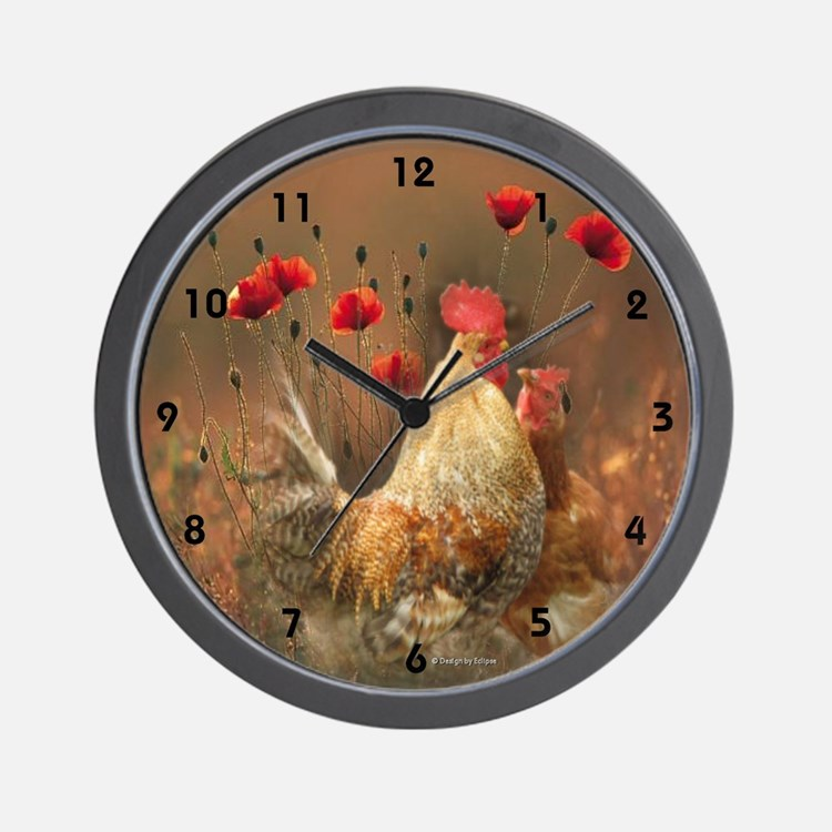 Rooster and Hen Country Wall Clock