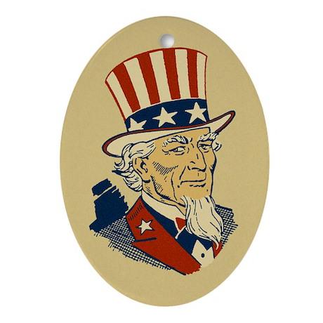 Retro Uncle Sam Oval Ornament