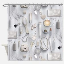 White Vanity Table Shower Curtain