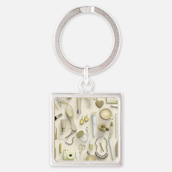 Yellow Vanity Table Square Keychain