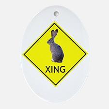 Jackrabbit Crossing Oval Ornament