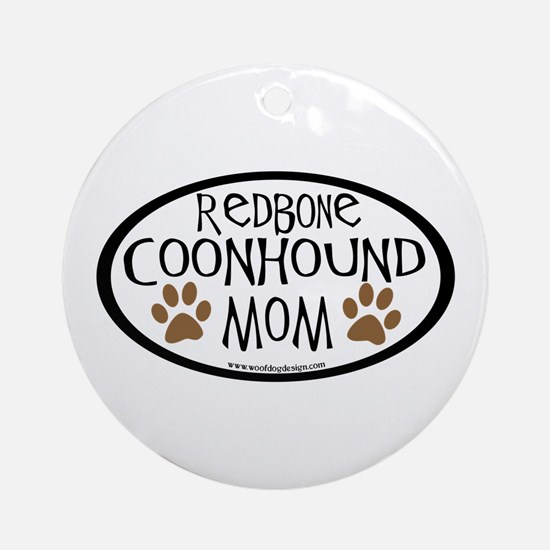 Redbone Coonhound Mom Oval Ornament (Round)