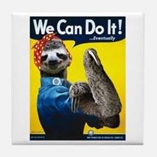 Rosie the Riveter Sloth Tile Coaster