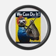 Rosie the Riveter Sloth Large Wall Clock