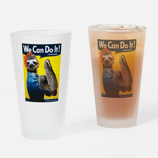 Rosie the Riveter Sloth Drinking Glass