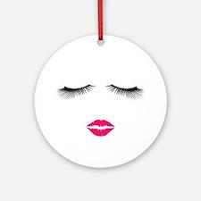 Lipstick and Eyelashes Round Ornament