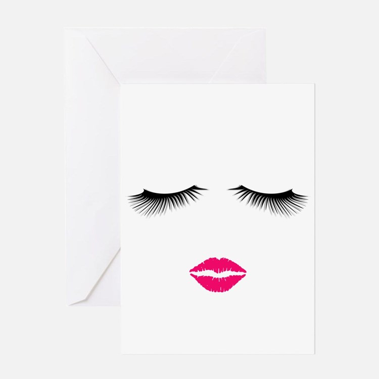 Lipstick and Eyelashes Greeting Cards