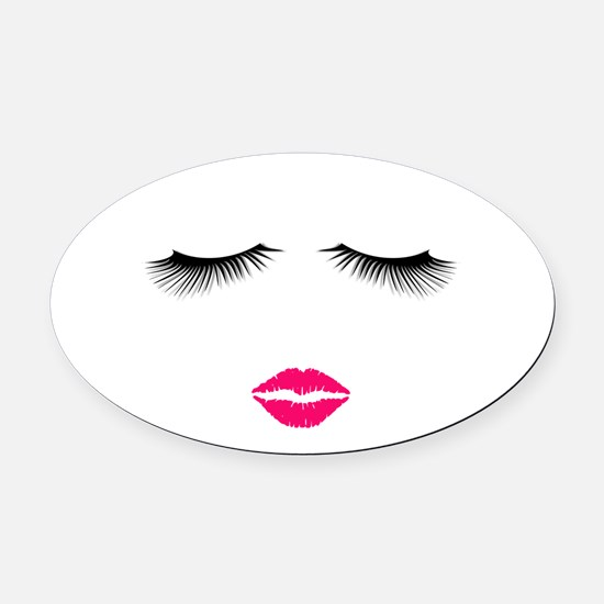 Lipstick and Eyelashes Oval Car Magnet