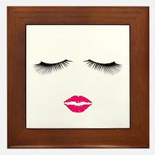 Lipstick and Eyelashes Framed Tile