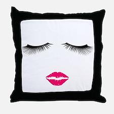 Lipstick and Eyelashes Throw Pillow