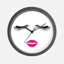Lipstick and Eyelashes Wall Clock
