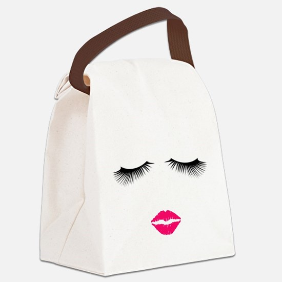 Lipstick and Eyelashes Canvas Lunch Bag