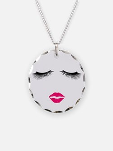 Lipstick and Eyelashes Necklace