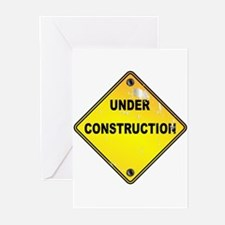 Yellow Under Construction Sign Greeting Cards