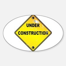 Yellow Under Construction Sign Decal