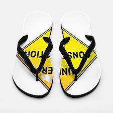 Yellow Under Construction Sign Flip Flops