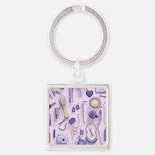 Purple Vanity Table Square Keychain