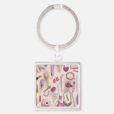 Pink Vanity Table Square Keychain
