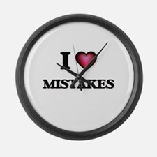 I Love Mistakes Large Wall Clock
