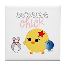 Bowling Chick Tile Coaster