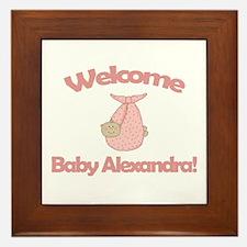 Welcome Baby Alexandra Framed Tile