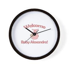 Welcome Baby Alexandra Wall Clock
