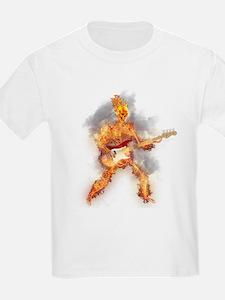 Flaming Skeleton Base Guitarist T-Shirt