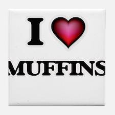 I Love Muffins Tile Coaster